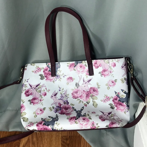 Loungefly Pokemon Espeon Umbreon Floral Tote Purse Printed Details White